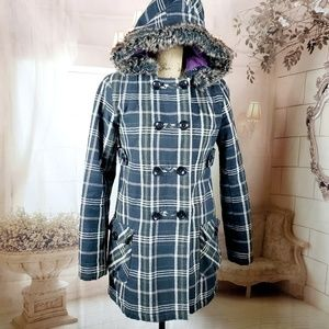 Volcom Faux Fur Hooded Plaid coat Size Small